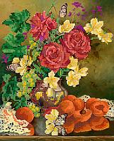 """Схема для вышивки бисером на атласе (натюрморт) """"Розы и абрикосы"""""""