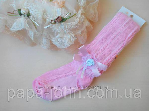 Колготы для девочки,декор бантик,цвет розовый,тм bross,р.134\140