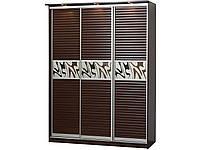 Шкаф купе Зета 1,8 метра с дверями МДФ темный венге, фото 1