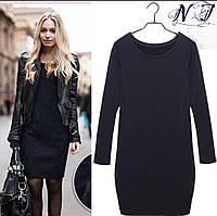 Теплое трикотажное женское платье(48-52) черное