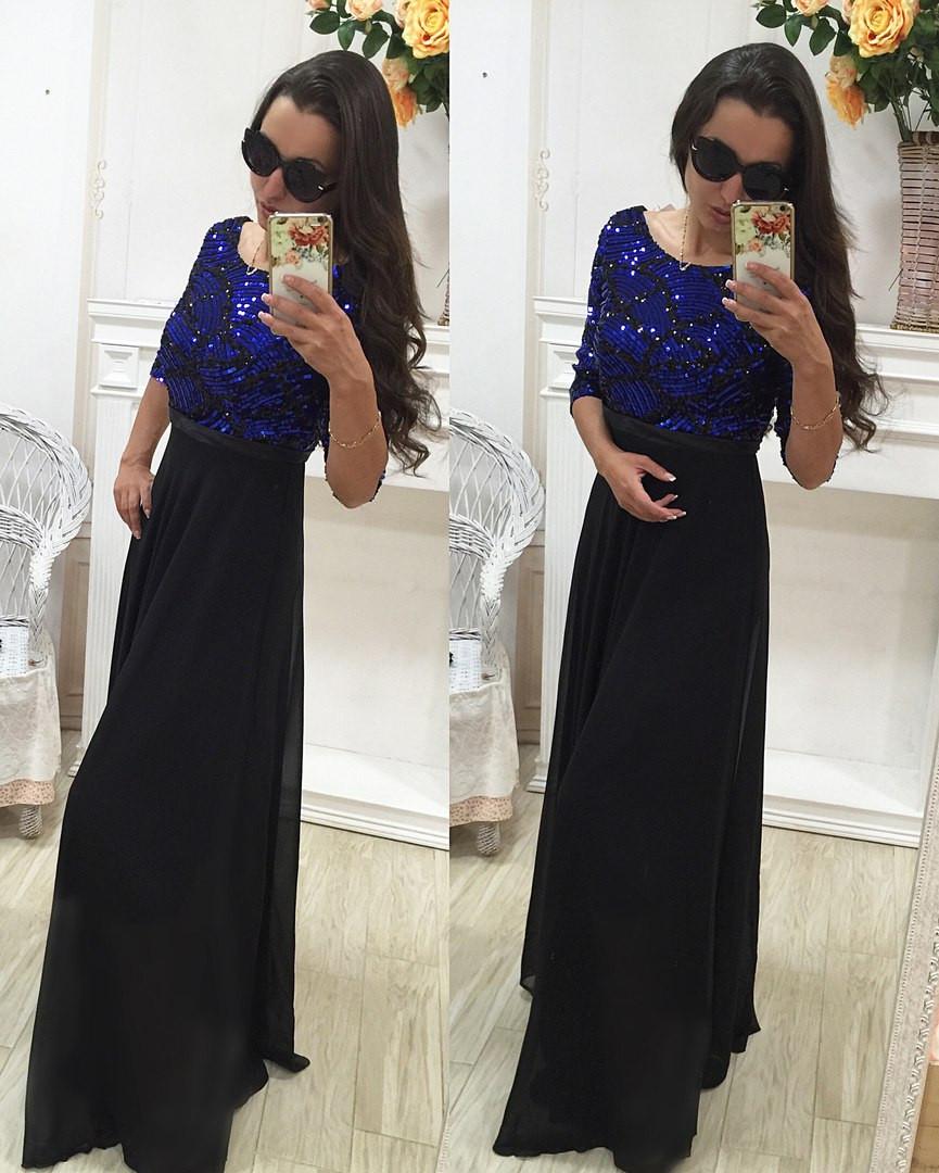 89f93bcfa01 Шикарное шифоновое платье № 150 с пайетками - Леди Плюс в Одессе