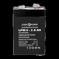 Аккумулятор AGM свинцово кислотный LogicPower LPM-6-2.8 AH