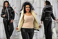 Баталы. Черный. Женский зимний спортивный костюм на синтепоне. , фото 1