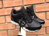 Кожаные женски кроссовки класса люкс черные