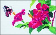 Набор для вишивки нитками Китайская роза в цвету