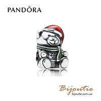 Pandora шарм РОЖДЕСТВЕНСКИЙ МИШКА №791391ENMX серебро 925 Пандора оригинал