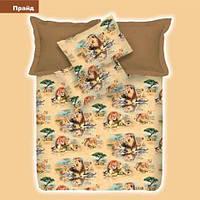 Комплект постельного белья Прайд ранфорс 100% хлопок ТМ Вилюта Украина коричневый лев
