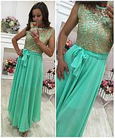Длинное женское платье №008 с поясом (2 цвета)