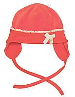 Шапочка для девочки:цвет -Коралловый,размер-47, 18мес.