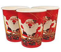 Стаканчики одноразовые праздничные детские С Новым Годом Дед Мороз10 шт в упаковке