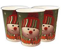 Стаканчики одноразовые праздничные детские С Новым Годом Снеговики 10 шт в упаковке