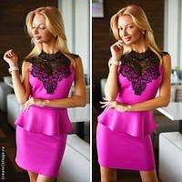 Коктейльное платье с баской в расцветках 497 (2059)