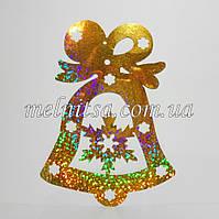 """Пайеточный декор  """"Колокольчик"""", 16 х11,5 см, золото, голограмма, 1 шт"""
