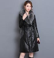 Женский  модный пуховик с меховым воротником. Модель 991, фото 1