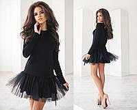 Женское нарядное черное платье с пышным низом