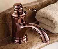 Смеситель кран для умывальника в ванную однорычажный розовое золото