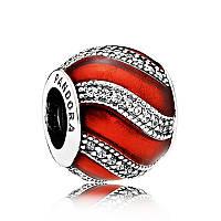 """Шарм """"Украшение красный"""" из серебра Pandora, 791991EN07"""