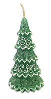 Свеча новогодняя  Зеленая ель 15 см