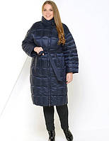 Пуховик пальто стеганое Evacana синее темное