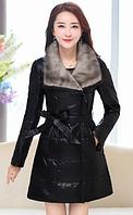 Женский  стильный  пуховик с меховым воротником. Модель 992, фото 1