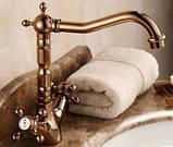 Смеситель кран двухвентельный в ванную комнату или на кухню для мойки раковины, фото 2
