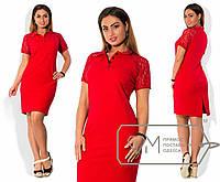 Красное прямое платье больших размеров с коротким гипюровым рукавом. Арт-3652/29