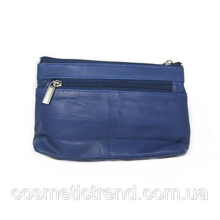 Косметичка женская синяя из натуральной кожи Garry Swan (Индия) 512151/blue  22*13*5 см, фото 2