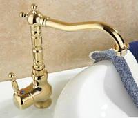 Смеситель кран цвета золота в ванную комнату или на кухню для мойки раковины