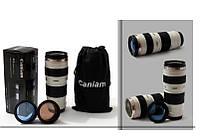 Термочашка в форме объектива Caniam (Canon) EF 70-200 с чехлом Белая