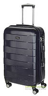 Дорожный чемодан из ABS пластика на 4-х колесах (средний) March Bumper 0102 темно-синего цвета