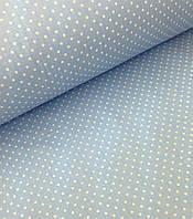 Хлопковая ткань польская горох белый на голубом светлом 4 мм