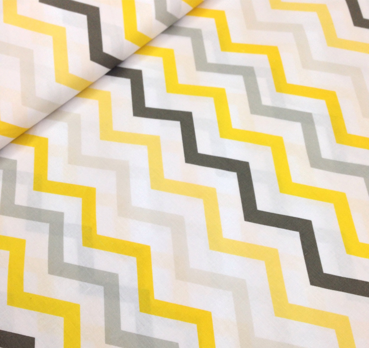 Хлопковая ткань польская зигзаг желто-серый
