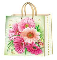 Пакеты бумажные для подарков цветы размер 24х24 см