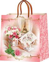 Бумажные пакеты с рисунком Цветы размер 24х24 см