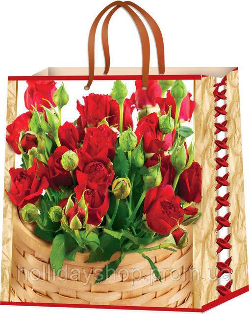Пакеты бумажные для подарков Цветы размер 24х24
