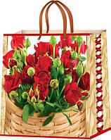 Пакеты бумажные для подарков Цветы размер 24х24, фото 1