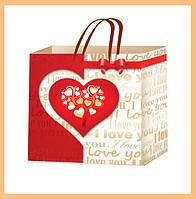 Бумажные пакеты на день Валентина размер 24х24см