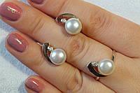 Комплект  украшений из серебра с жемчугом и золотом