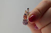 Серьги из серебра с розовыми фианитами и золотом
