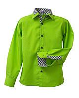 Рубашка Frantolino с длинным рукавом с отделкой для мальчика р. 134-164 Салатовый 1116-040