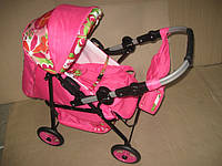 301 Кукольная коляска-трансформер 2в1 с переноской Adbor Mini Ring (розовый, цветы разные)