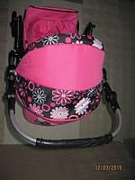 301 Кукольная коляска-трансформер 2в1 с переноской Adbor Mini Ring (розовый, цветы на черном)
