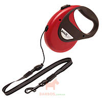Поводок рулетка для собак до 12 кг, с ручкой и кнопкой блокировки, светоотражающий шнур 8 м DogxToGo Cord (Карли-Фламинго) Karlie Flamingo (красный)