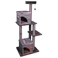 Когтеточка для котов 2 домика и драпак (дряпка) Villa Scratch Pole (Карли-Фламинго) Karlie Flamingo