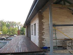 Облицовка травертином фасада частного дома 15