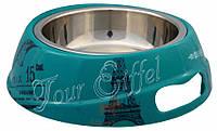 Миска для собак и кошек Combo Paris меламин+металл синяя Trixie (0,6 л 20 см)