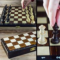 Шахматы 2039(3153) туристические коричневые 27х13.5х4см (король-55мм), фото 1