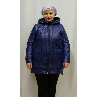Куртка большого размера на синтепоне Classic 16-360-KS син скидка