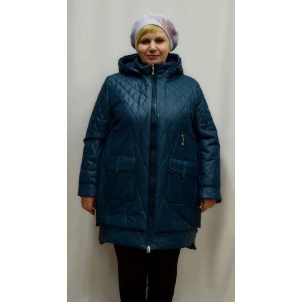 Куртка большого размера на синтепоне Classic 16-360-KS бирюза скидка