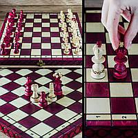 Шахматы 313402 PEARL Small с вставкой, малиновый, 35x17,5x5см (король-65мм), фото 1